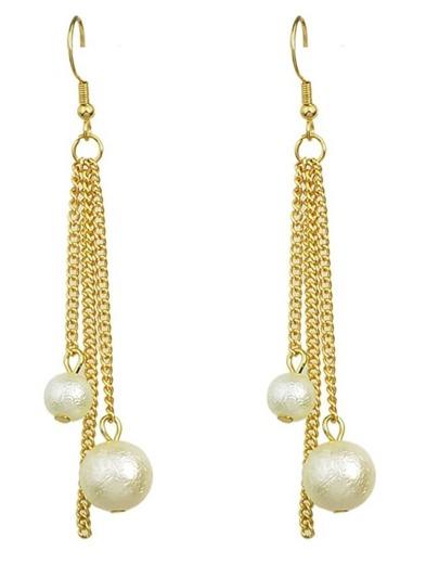 Tassel Created Pearl Dangle Earrings