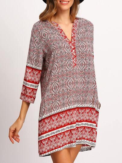 Red V Neck Tribal Print Shift Dress