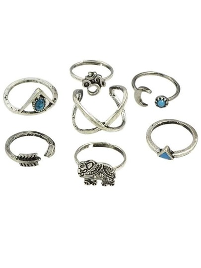 Silver Plated Rings Set