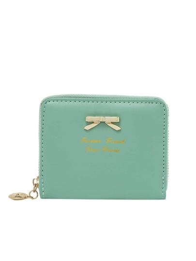 Pale Green Zipper Bow Purse