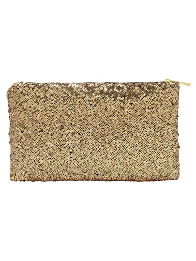 Gold Zipper Sequined Clutch Bag