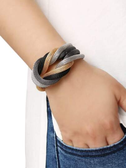 Multi Color Metal Knot Bracelet