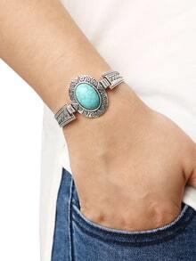 Oval Turquoise Set-in Carved Bracelet