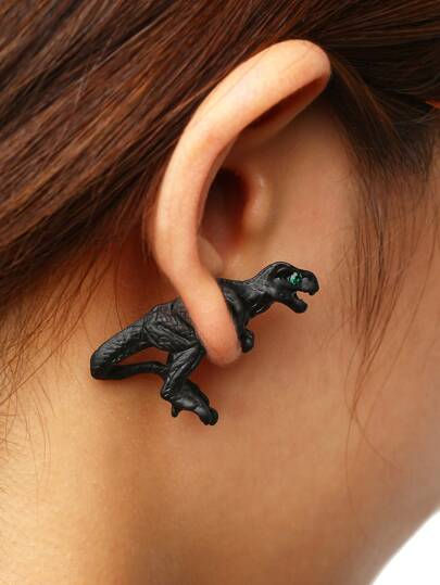 Green Crystal Eyes Black Dinasour Single Earring