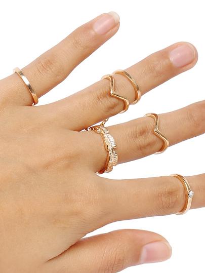 Gold 6pcs Leaves Rings