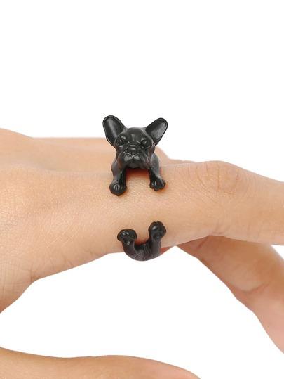 bague motif chien -Noir