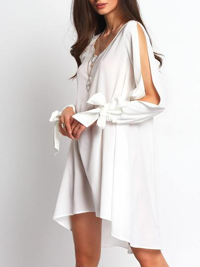 White Bow Cut-out Sleeve Dip Hem Dress