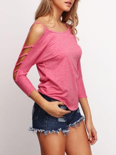 Pink Cold Shoulder Loose Woman T-Shirt
