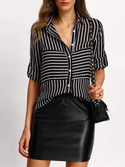 blouse à rayure -Noir