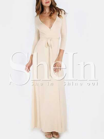 Apricot Cross V Neck Split Side Maxi Dress