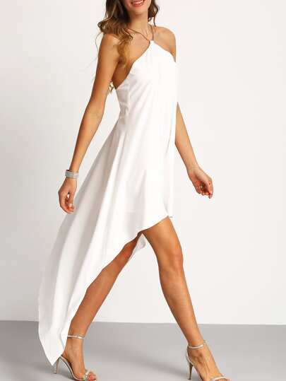 Chain Halter Neck Asymmectric Dress