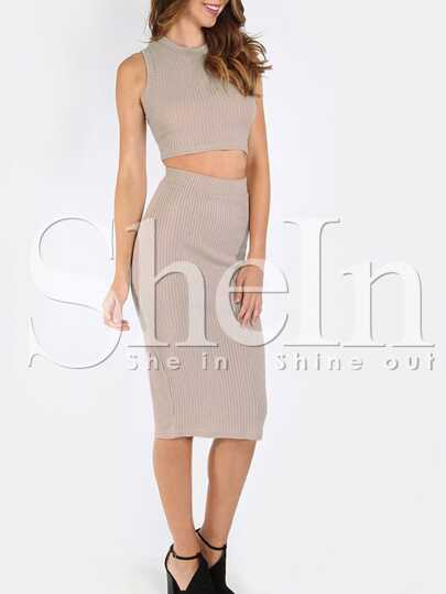 Mock Neck Ribbed Top With Skirt