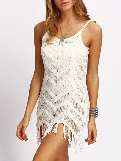 Beige Tassel Spaghetti Strap Beach Dress