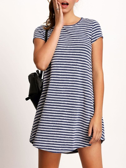 Bluse Round Neck Striped Casual Dress