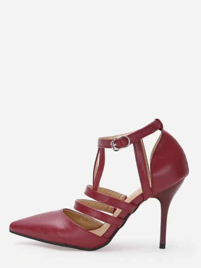 Red Strappy Pointed Toe Pumps