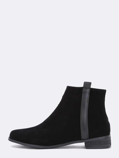 Black Round Toe Chunky Heel Zipper Boots