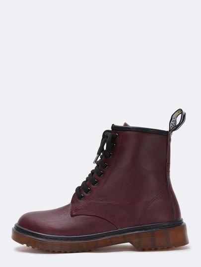 Wine Red Chunky Heel Round Toe PU Boots