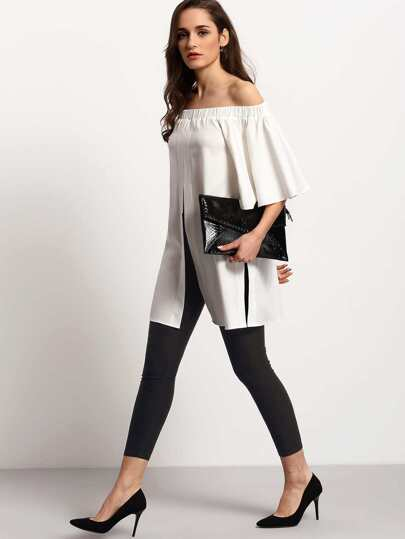 Shirred Off The Shoulder Bell Sleeve Split Blouse