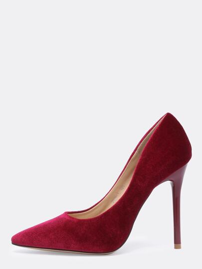 Wine Red Point Toe High Stiletto Heel Pumps