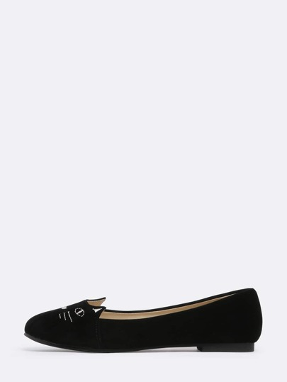 Black Cat Print Round Toe Flats