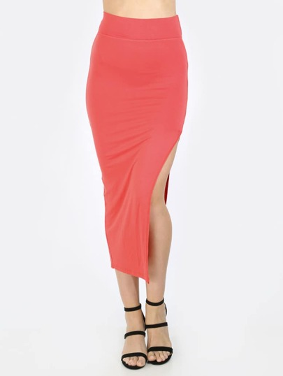 Watermelon Red High Waist Split Side Pencil Skirt