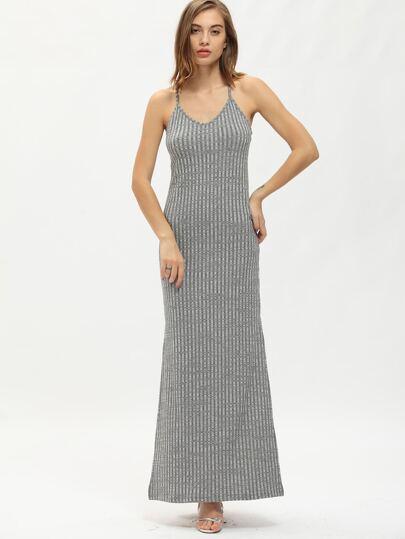 Grey Spaghetti Strap Side Split Maxi Dress