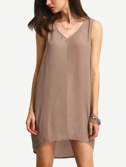 Coffee V Neck Sleeveless Loose Dress