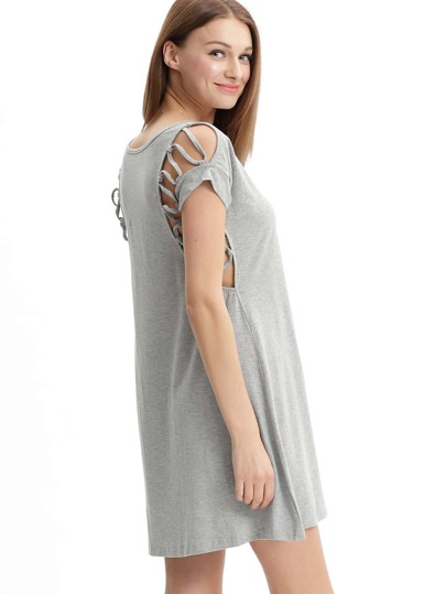 Grey Round Neck Lace Up Yoke Casual Dress