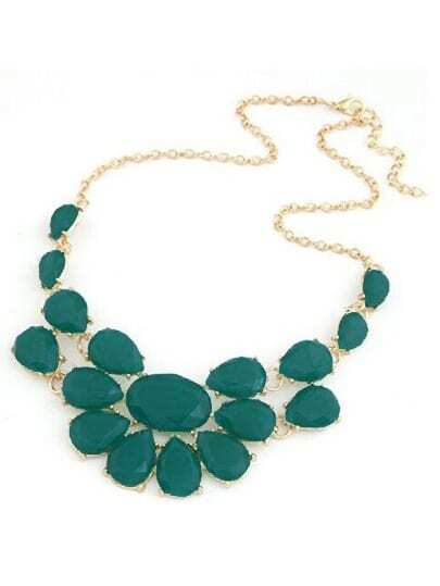 Green Drop Gemstone Necklace