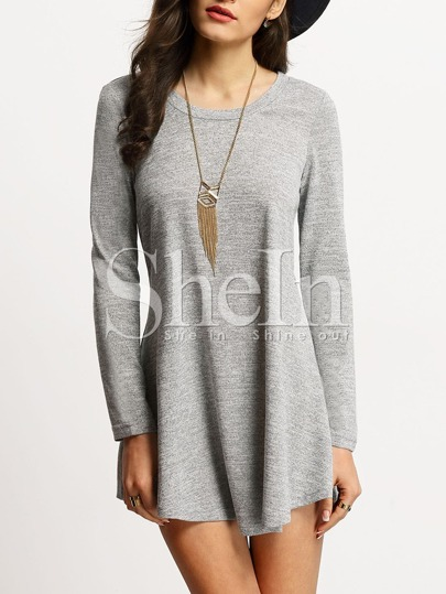 Grey Scoop Neck T-shirt Dress