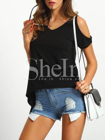 schulterfreies T-Shirt mit asymmetrischem Saum-schwarz