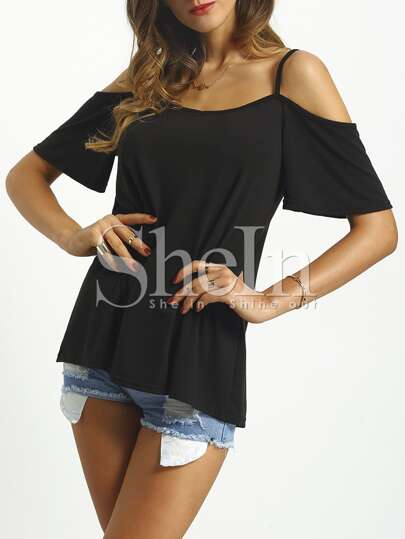 Black Spaghetti Strap Loose T-shirt