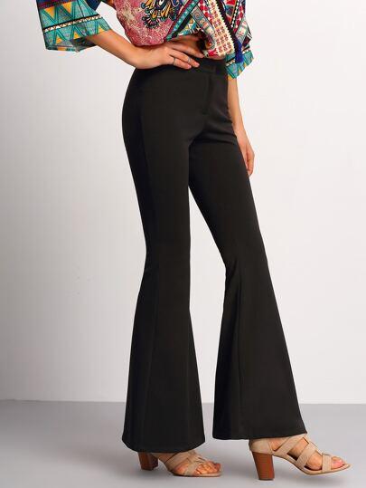 Black Elastic Waist Flare Pants