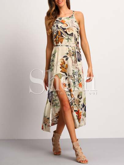Spaghetti Strap Patterned Backless Split Dress