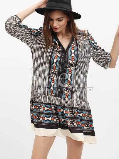 Vintage Print 3/4 Sleeve Dress