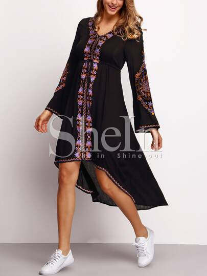 Black Bell Sleeve Tribal Print Dress