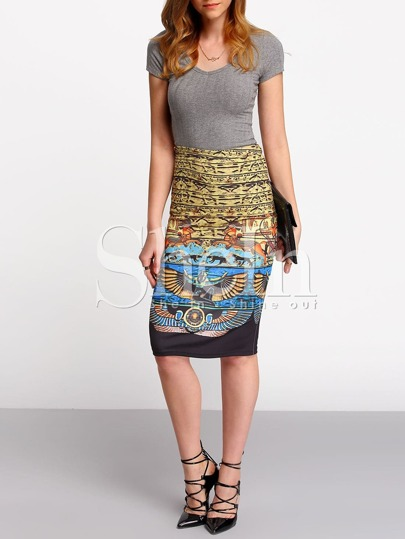 Multicolor High Waist Vintage Print Sheath Skirt