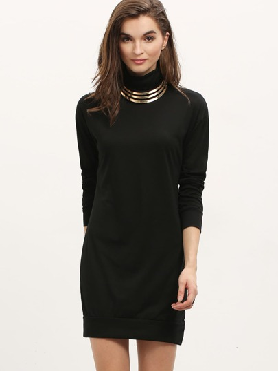Black High Neck Long Sleeve Dress