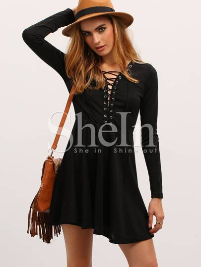 Black Lace Up Neck Flare Dress