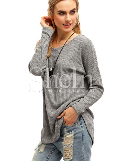 Grey V Neck Loose Sweater