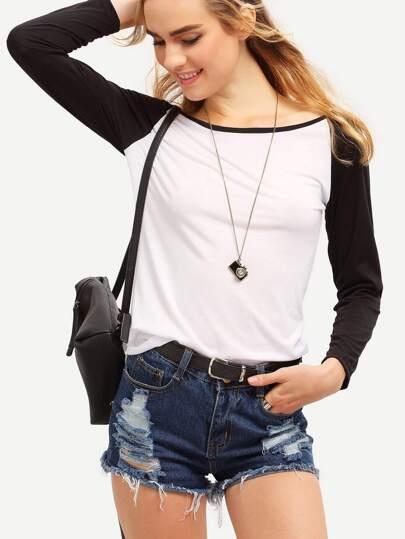 Colour-block Round Neck Slim T-Shirt