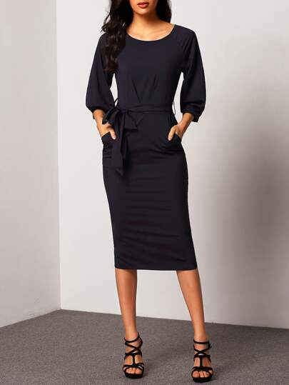 Puff Sleeve Dress With Belt