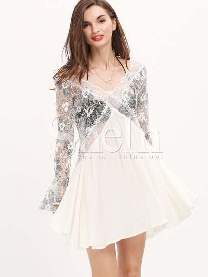 Apricot Long Sleeve With Lace Pleated Dress