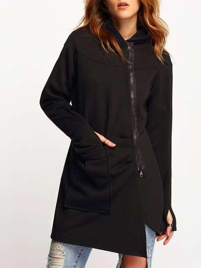 Black Hooded Zipper Pockets Loose Coat