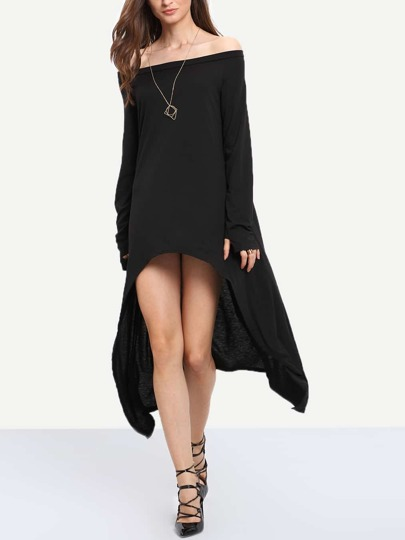 Black Asymmetrical Casual Dress