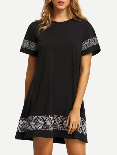 Embroidered Swing Tee Dress