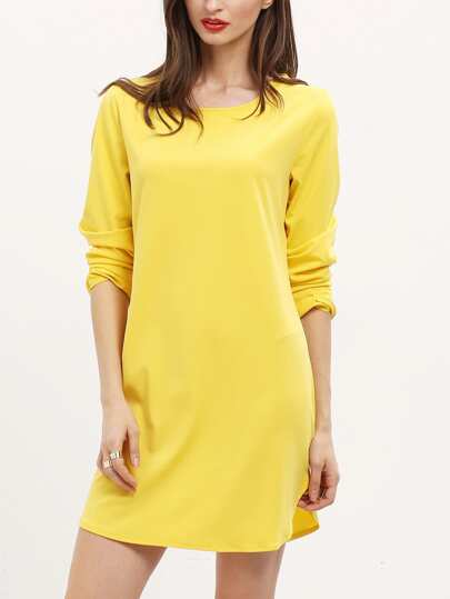 Yellow Long Sleeve Backless Loose Dress