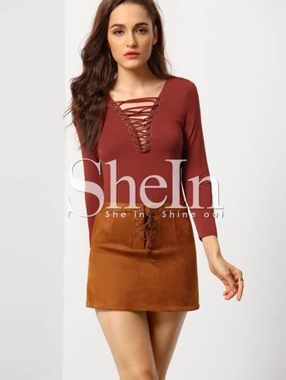 Burgundy Long Sleeve Lace Up T-Shirt