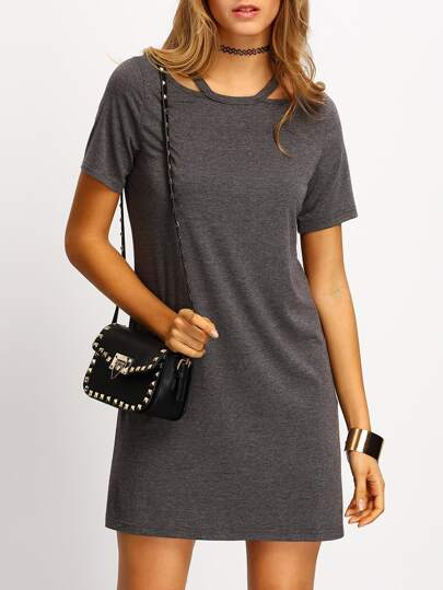 Grey Short Sleeve Cold Shoulder T-shirt Dress