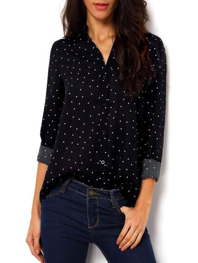 Black Polka Dot Spotted With Buttons Polkadots Blouse